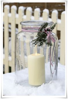 candle in a jar for Christmas decoration