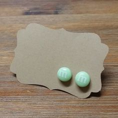Hey, I found this really awesome Etsy listing at https://www.etsy.com/listing/183977117/mint-green-mm-stud-earrings-happy-ears