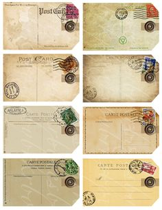 eight gift tags from antique and vintage postcards, digital collage sheets for paper crafts, crafting, 2.5 inches by 4 inches -- no. 324. via Etsy.