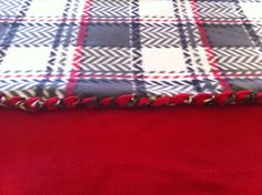 Red and Grey Plaid No Sew Blanket