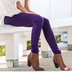 Purple Skinny Jeans Add a pop of bold colored purple denim! These straight cut skinny jeans are comfy and add that extra touch of color to any outfit ! Jeans Skinny