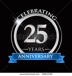 Celebrating 25 years anniversary logo. with silver ring and blue ribbon. - stock vector