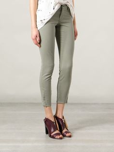 J Brand 8352 Capri Cropped Zip Pants Garrison Green Twill Denim 23 Anthropologie #JBrand #Cargo