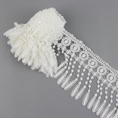 3 Yards Polyester Off White Lamp Dangling Fringe Lace Trims For Sewing Craft S10150S