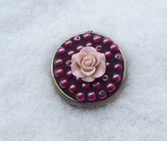 Pink Rose Pill Box Mosaic Pill Box Push by PiecesofhomeMosaics, $18.00