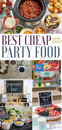Looking for ways to have an amazing party on a super tight budget? These cheap and easy party food ideas are perfect if you're looking for cheap party food for a crowd. Party Food On A Budget, Party Food Easy Cheap, Party Food Bars, Cheap Party Ideas, Cheap Party Snacks, Bbq Food Ideas Party, Party Food Buffet, Food Budget, Birthday Party Meals