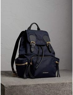 e951b636fb2b The Medium Rucksack in Technical Nylon and Leather in Ink Blue - Women