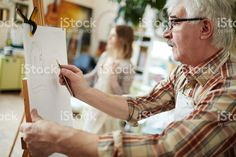 Drawing on easel royalty-free stock photo