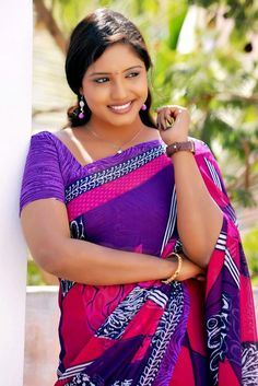 Telugu Tv Actress Roja Komaravolu Photos In Blue Saree