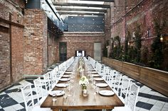 lights and brick Wythe Hotel, Brooklyn, Brick, Projects To Try, Table Settings, Hotels, York, Lights, Party