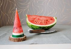 Watermelon Candle Hand Painted Cone Candle Funny by LessCandles