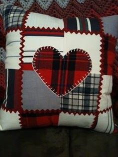 Red flannel heart on patchwork pattern pillowcase vintage country look
