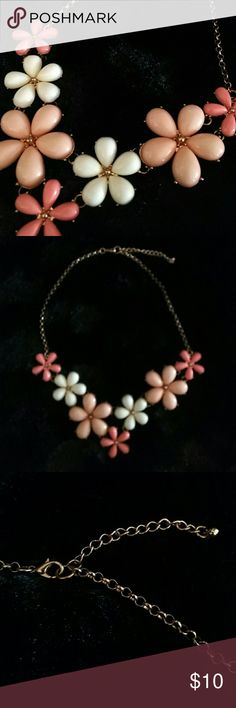 """Flower statement necklace Pink, coral and cream floral necklace with lobster claw clasp. Length: 18"""" Jewelry Necklaces"""