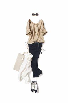 キュートに着るベージュ&ブラック Fashion Pants, Fashion Outfits, Womens Fashion, Modest Outfits, Casual Outfits, Summer Office Outfits, Complete Outfits, Work Wardrobe, Fashion Books