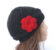 Hand Knit Hat  Womens hat Victorian  Hat black with red  by Ebruk, $40.00