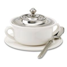 Match Pewter Convivio Tableware  Convivio Covered Soup Bowl with Plate