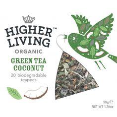 Ceai verde organic cu nuca de cocos Higher Living. Ceaiuri Bio dosponibile prin comanda online exclueiv pe www.greenboutique.ro