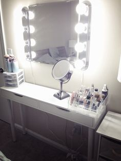 In love with my Diy ikea vanity! Instagram @xokiamaria I got the shelf and mirror from ikea and lights from lowes!