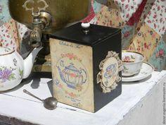 """Купить Чайный короб """"Лучшие традиции.."""" - синий, короб для кухни, коробка для чая"""