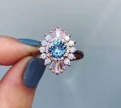 Wedding Ring Tattoos Heidi Gibson rose gold cambria ring with an aquamarine center Wedding Rings Simple, Wedding Rings Rose Gold, Wedding Rings Vintage, Bridal Rings, Wedding Jewelry, Gold Wedding, Rose Gold Diamond Ring, Diamond Cuts, Solitaire Diamond