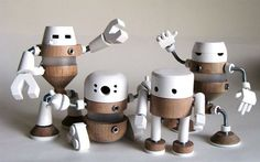 Research, Experiment, Play We want robots! by Markus Utomo, a game with the issue of humans and robots, between analogue and digital worlds. Woodworking For Kids, Woodworking Projects, Handmade Home, Iq Puzzle, Stuffed Animals, Toy Art, Designer Toys, Wood Toys, Diy Toys