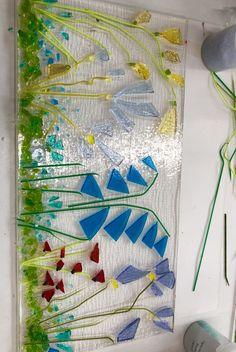 Fused glass wild flowers pre firing