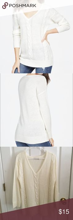 JustFab Low V neck Sweater Oversized, Low V-neck Sweater by JustFab. Size small. Fits larger almost a size large with low neckline. Great for layering. Never worn only tried on. JustFab Sweaters V-Necks