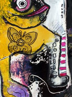 Original LABEDZKI abstract PRINT OF MY ART 5x7 inches glossy print FROG #OutsiderArt