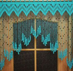 Beaded curtains, Crochet door curtains Hearts with acrylic beads and tassels, orange door curtains, crochet lace curtainsCrochet curtain on the doorway Tenderness, a turquoise curtain with coconut beads Crochet Curtain Pattern, Crochet Curtains, Beaded Curtains, Curtain Patterns, Door Curtains, Curtain Designs, Crochet Patterns, Valance, Curtain Ideas