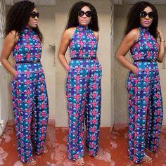 African print jumpsuit designed by Kiki Zimba ~ African fashion, Ankara… African Print Jumpsuit, Ankara Jumpsuit, African Print Dresses, African Dress, African Prints, African Fabric, African Attire, African Wear, African Fashion