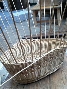 6 of 10 - washing basket - raised sides being woven Washing Basket, Flower Basket, Dried Flowers, Basket Weaving, Wicker, Baskets, Home Decor, Flower Preservation, Hampers