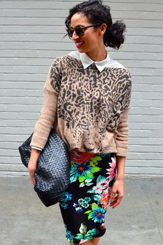 Our fav leopard face sweater with a floral skirt on Allergic to Vanilla! www.shopseptember.com
