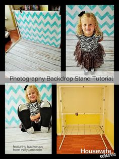 Photography Backdrop Stand Tutorial -  Adjustable two heights: tall for adults & short for children or just super-short grown ups