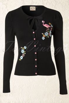 Banned - 60s Flamingo Cardigan in Black