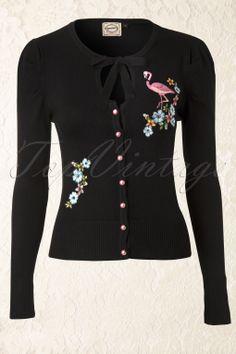 Banned - 60s Flamingo Cardigan in Black