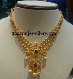 Jewellery Designs: Uncut Diamond Wide Necklace