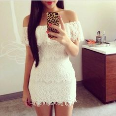 In 2014 the European and American women sexy lace white lace strapless dress Sexy Dresses, Cute Dresses, Dress Outfits, Party Dresses, Dress Skirt, Lace Dress, Strapless Dress, White Mini Dress, White Lace