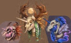 #1228661 - artist:audrarius, braid, cropped, deer, dragon, ear piercing, edit, feather, piercing, princess celestia, princess luna, safe, sharp teeth, skull, tribal, twilight sparkle, wolf - Derpibooru - My Little Pony: Friendship is Magic Imageboard