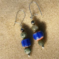 Chevron Bead Earrings  Blue & Red with Tree by JewelryArtistry