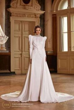 Milla Nova 2021 Spring Bridal Collection – The FashionBrides Bridal Outfits, Bridal Gowns, Wedding Gowns, Modest Wedding Dresses With Sleeves, Gowns With Sleeves, Satin Mermaid Wedding Dress, Gowns Of Elegance, Bridal Collection, Ball Gowns