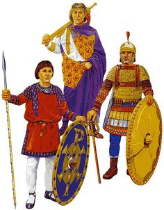 """""""Imperial Guardsmen, Constantinople, 6 th century: Protector of Primoscutarii - Spatharios - Excubitor"""", Graham Sumner"""