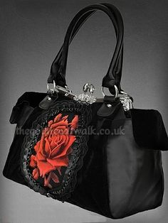 goth rose | Black & Red Cameo Rose Print Gothic Bag from The Gothic Catwalk A
