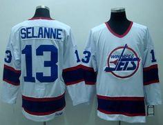 Winnipeg Jets 13 Teemu SELANNE CCM Vintage Hockey White Jersey