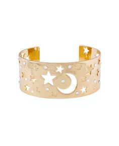 Gold vermeil over sterling silver cuff bracelet with clear crystal accents and moon and stars motif