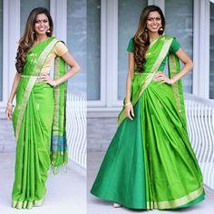 Image may contain: 2 people Lehenga Saree Design, Half Saree Lehenga, Lehnga Dress, Saree Look, Lehenga Designs, Lehenga Dupatta, Bridal Silk Saree, Indian Bridal Lehenga, Indian Sarees