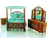 TEAL & CHOCOLATE BROWN Victorian Canopy Bedroom Set Hand-Painted Dollhouse Miniature 1:12