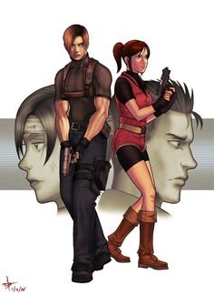 Resident Evil- Leon and Claire by Makotsu.deviantart.com on @deviantART