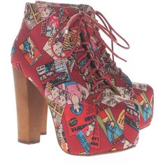 JEFFREY CAMPBELL Lita Cartoon Red Platform booties (£60) ❤ liked on Polyvore featuring shoes, boots, ankle booties, heels, high heel booties, lace up heel booties, platform heel boots, lace up heel boots and lace up high heel boots