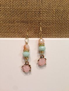 beaded dangle earrings mint and pink earrings by piddlygirldesigns, $12.95 Pink Earrings, Dangle Earrings, Dangles, Mint, Trending Outfits, Unique Jewelry, Handmade Gifts, Etsy, Vintage