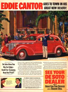 Ali Baba comes to town in a 1938 DeSoto with Eddie Cantor at the wheel Vintage Cars, Antique Cars, Vintage Auto, Desoto Cars, Square Deal, Ali Baba, Car Colors, Car Advertising, Small Cars